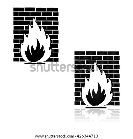 Concept illustration showing a fire in front of a wall, representing a firewall - stock vector