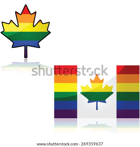 Concept illustration showing the Canadian flag with the colors of the rainbow - stock vector