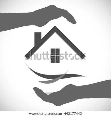 Concept image of an abstract home security design isolated on a white background. - stock vector