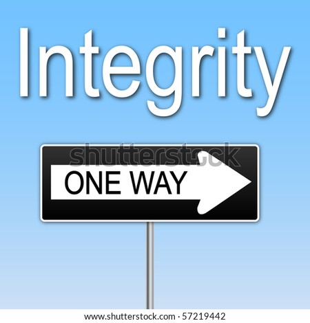"Concept image of ""Integrity"" with a one way sign. - stock vector"