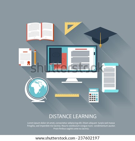 Concept in flat design for online education, distance learning, science research, creative thinking, innovations with computer - stock vector