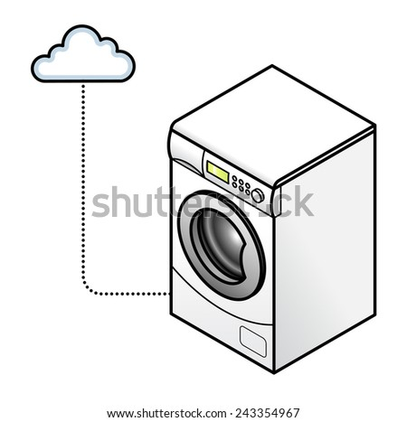 Concept: Internet of Things. A connected clothes washer. - stock vector