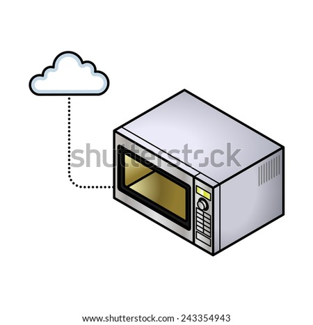 Concept: Internet of Things. A connected microwave oven. - stock vector