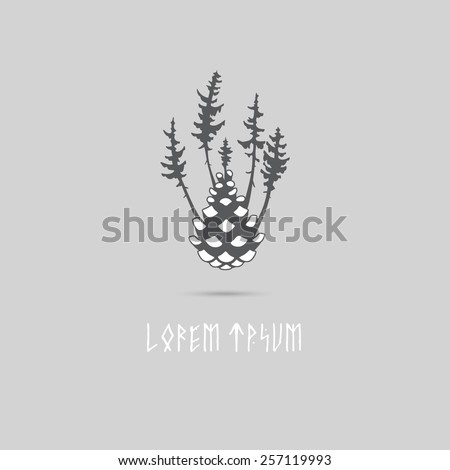 Concept logo design of the spruce fir forest. There are trees growing from the cone. Can be used as a forest logo or eco system symbol, sign, print , stamp or concept image - stock vector