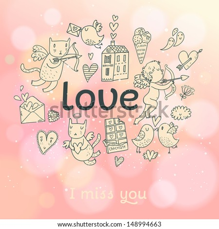 Concept love card in vector. Romantic elements � cupid, chocolate, ice cream, birds in love, postcard, cats and other on stylish background in pink colors with bokeh - stock vector