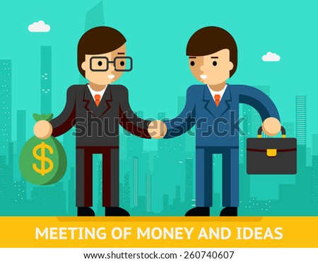 Concept meeting of money and ideas. Two businessmen and handshake. Agreement and success. Vector illustration - stock vector