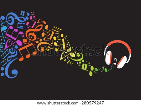 Concept music. Music background with headphones and musical notes - stock vector