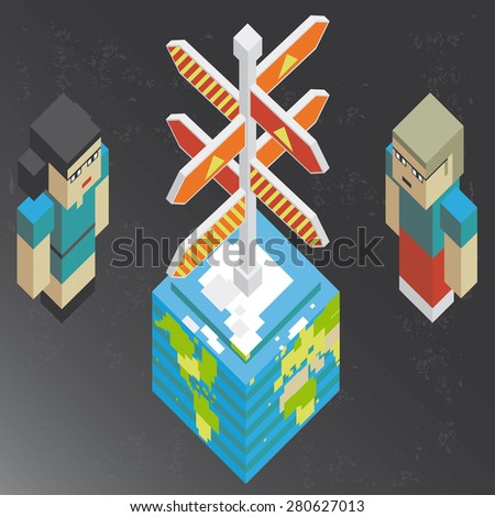 Concept of a danger road sign over the earth and one man and one woman thinking about, in isometric old video game style. The grunge texture is removable from the background. - stock vector