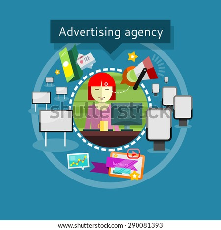 Advertising agency office stock illustrations cartoons for Bright illustration agency