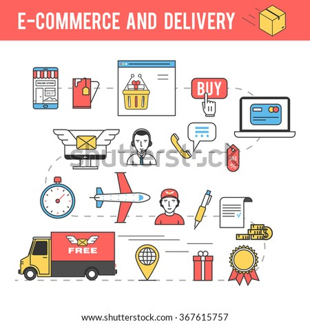 Concept of algorithm search, purchase and delivery of goods in the online store, e-commerce. Flat line color vector illustration for your design - stock vector