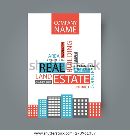 Concept of architecture design with tag cloud. Vector illustration. Brochure template for real estate company. - stock vector