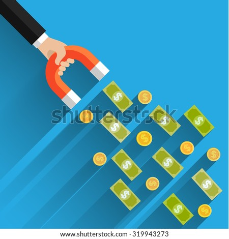 Concept of attracting investments. Money business success dollar magnet. Flat design, vector illustration - stock vector