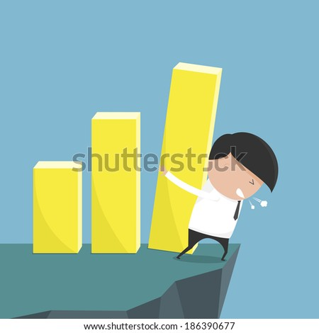 Concept of bar graph support with businessman as not to fall abyss. Not let stock fall. vector illustration - stock vector