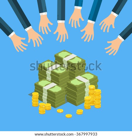 Concept of big money. Big pile of cash. Hands of businessmen are trying to get money. Vector isometric illustration. - stock vector