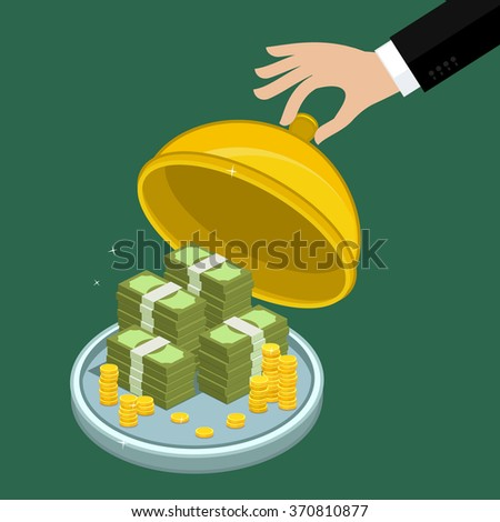 Concept of big money. Big pile of cash. Hundreds of dollars. Vector isometric illustration. - stock vector