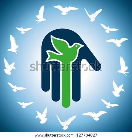 concept of birds & peace - stock vector