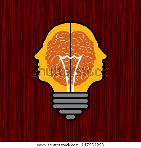 concept of brain with bulb as a solution to problem - stock vector