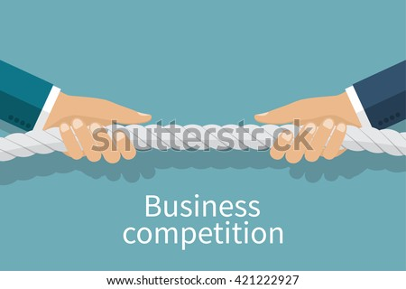 Concept of business competition. Businessmen pull the rope as a symbol of rivalry, competition, conflict. Tug of war. Vector illustration, flat design. Corporate conflicts. - stock vector