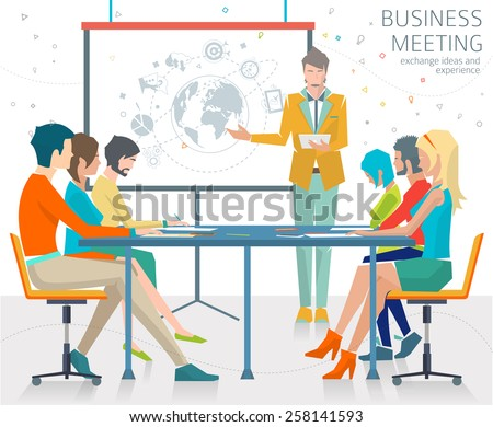 Concept of business meeting / exchange ideas and experience / coworking people / collaboration and discussion / presentation / vector illustration. - stock vector