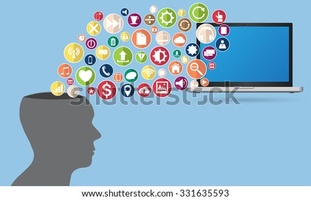 Concept of Business Technology Solution with laptop computer from human, Vector Illustration EPS 10. - stock vector