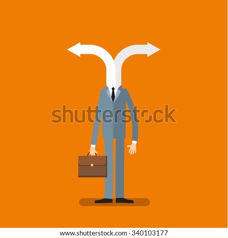 Concept of choice. Cartoon business man with two arrows instead head. Flat design, vector illustration - stock vector