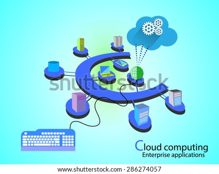 Concept of Cloud Computing network, different systems connected in alphabet letter C fashion in a cloud network. - stock vector