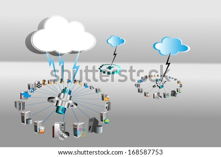 Concept of Cloud Computing network which connects various applications like enterprise, legacy, public, private cloud, and this solution fits for all business IT needs. access system from anywhere  - stock vector