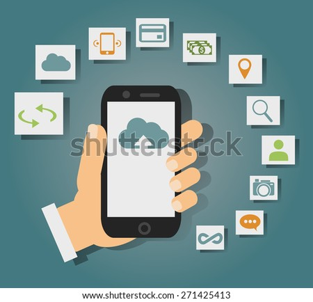 Concept of cloud services on mobile phone such as storage, computing, search, photo album, data exchange. With colorful icons or web buttons around mobile device. Rasterized bitmap version. - stock vector