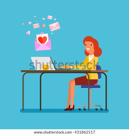 Concept of communication. Woman receiving love messages on laptop. Flat design, vector illustration. - stock vector