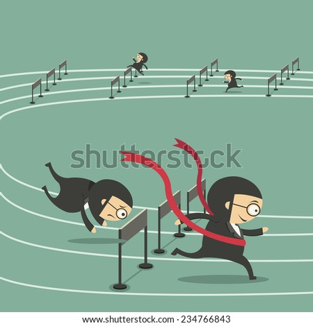 Concept of competition with four running businessman in a track - stock vector