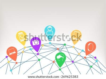 Concept of connected devices like smart phone, smart watch, wearables, camera in internet of things (IoT) era. Consumer and world grid with connected dots with different colors.  - stock vector