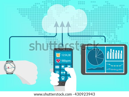 Concept of connected health and fitness tracker and devices such as smart phone, tablet and wearable for a digital lifestyle - stock vector