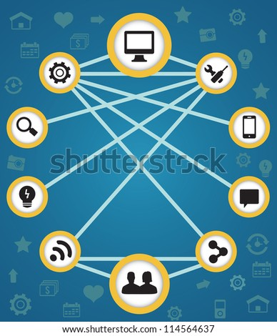Concept of connection and functions - vector illustration - stock vector