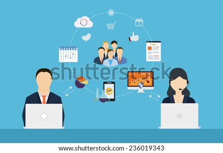 Concept of consulting services, project management, time management, marketing research, strategic planning.  - stock vector