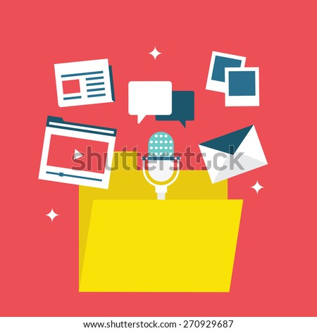 Concept of content marketing. Content marketing  involves the creation and sharing of media and publishing content in order to acquire, retain and interaction with customers - vector illustration - stock vector