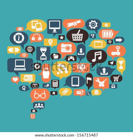 Concept of content social media - vector illustration - stock vector