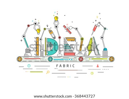 Concept of creating and building idea / Robotic production line / manufacturing and machine / typography - stock vector