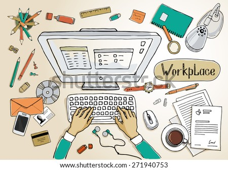 Concept of creative hand drawn office workspace. Items and elements, office things, objects and equipment for workplace design. Vector illustration set of business elements top view.  - stock vector