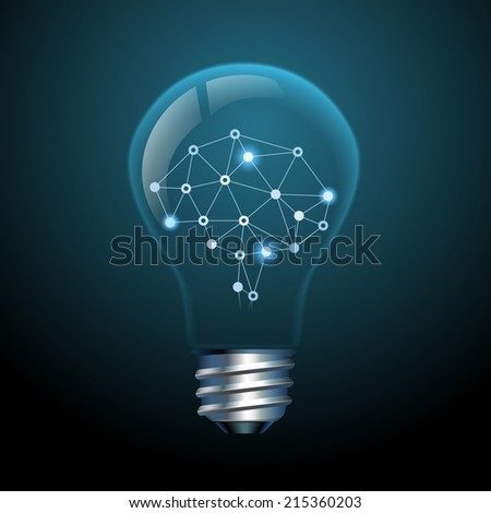 Concept of creative ideas, brain in a light bulb, eps10 vector - stock vector