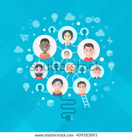 Concept of creativity, brainstorming,  thinking and generating ideas in business team. Avatars of team members shaped in lightbulb form - stock vector