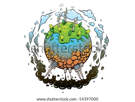 concept of different types of energy production methods. Planet earth green future with good energy and polluted one with bad - stock vector
