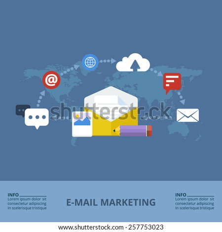 Concept of e-mail marketing. Flat design. Vector Illustration. - stock vector