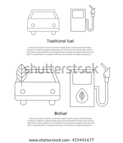 Concept of eco fuel. Auto and refilling with biofuel. Banner with place for your text. Vector illustration.  - stock vector
