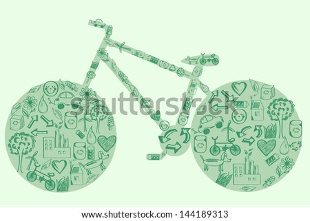Concept of eco green way of life/ bike made of hand drawn eco icons - stock vector