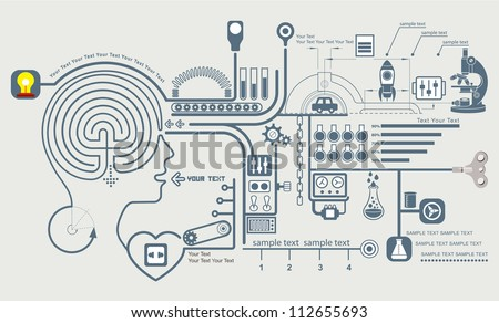 Concept of education and science, the functioning of the human body and the brain info graphics, Vector illustration of brain maze - stock vector