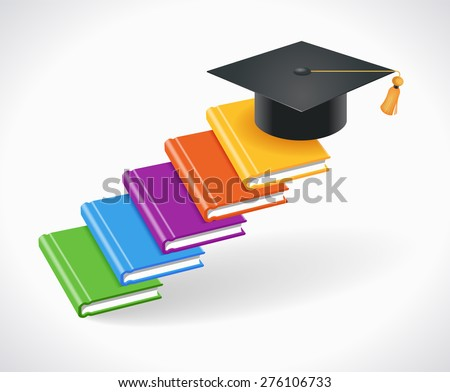 Concept of Education. Books are in the form of steps with an academic cap on top - stock vector