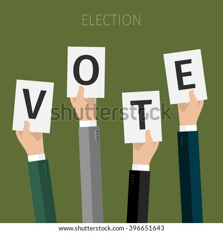 Concept of election. hands holding sheets of paper with the letters Vote, election day campaign. Flat design, vector illustration. - stock vector