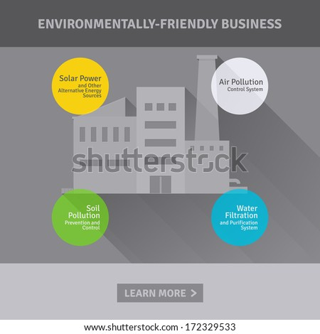 Concept of environmentally-friendly industrial factory - stock vector
