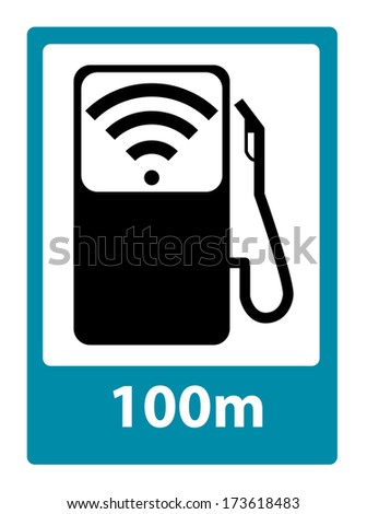 Concept of  Gas station sign with wireless internet. Vector illustration. - stock vector