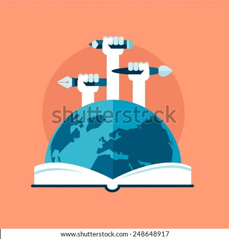 concept of global education, flat style vector illustration - stock vector